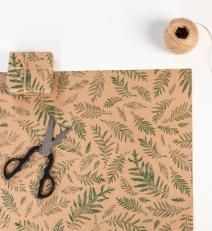 Wrapping paper 250 meter roll, 50 cm wide, motif: Green fern