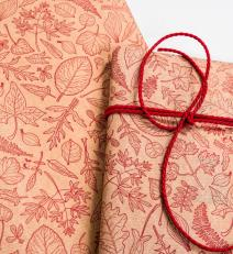 Wrapping paper 250 meter roll, 50 cm wide, motif: red leaves